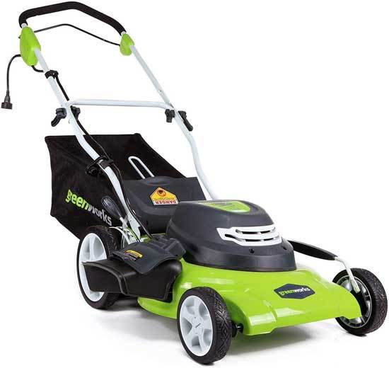 GreenWorks 20 Inch 12 Amp Corded Electric Lawn Mower 25022