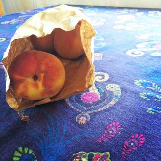 peaches paper bag