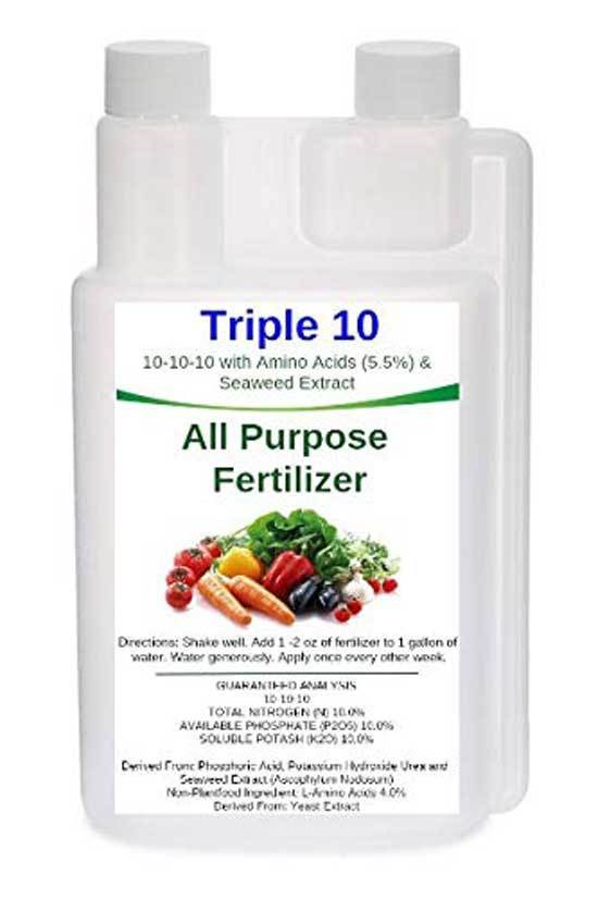 Triple 10 All Purpose Liquid Fertilizer 10 10 10 with Amino Acids 5.5 Seaweed Extract 32oz
