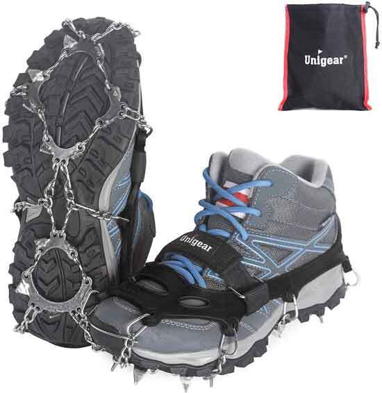 Unigear Traction Cleats Ice Snow Grips with 18 Spikes for Walking Jogging Climbing and Hiking