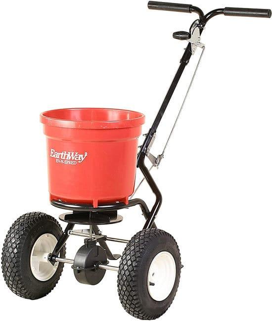 Best Fertilizer Spreader Earthway 2150 Commercial 50 Pound Walk Behind Broadcast Spreader