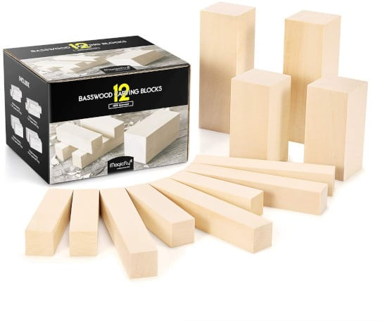 Magicfly 12PCS Multi Size Wood for Carving Best Wood for Carving