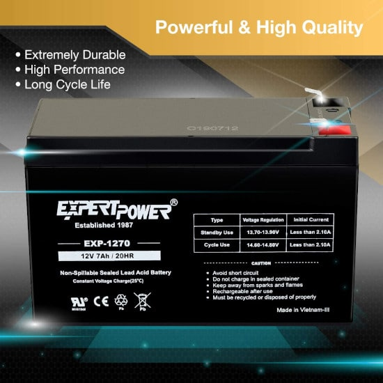 ExpertPower 12v 7ah Lawn Mower Sealed Rechargeable Lead Acid Battery Best Lawn Mower Battery 2