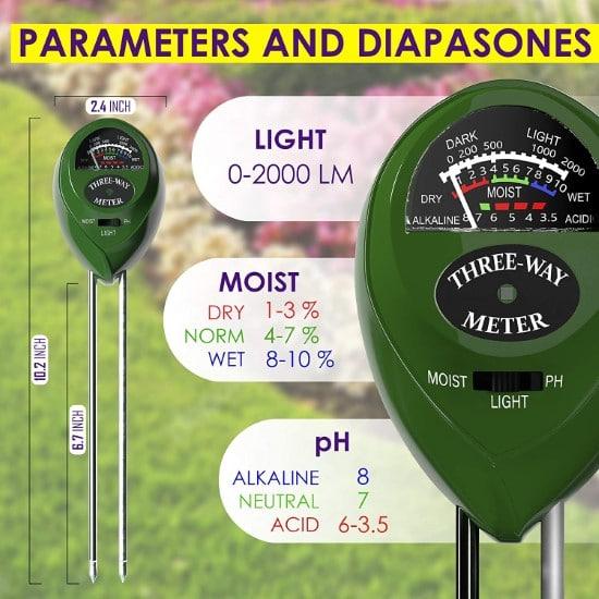 Trazon Soil pH Meter 3 in 1 Soil Tester Moisture How To Grow Grass In Sandy Soil
