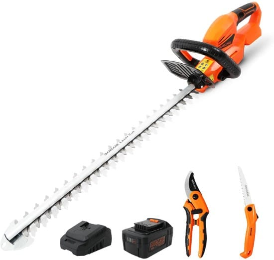 GARCARE 20V 4.0Ah Cordless 3 In 1 Hedge Trimmers Best Electric Hedge Trimmer
