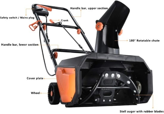 Hattomen 18 Inch 180° Rotatable Single Stage Snow Blower Best Single Stage Snow Blower 2