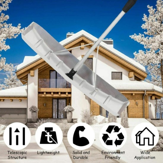GYMAX Adjustable Aluminum Snow Roof Extendable Rake Best Roof Rake