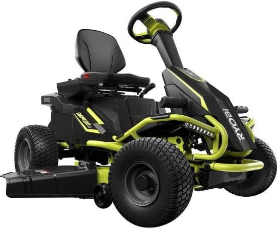Ryobi 38 Inch Electric Rear Engine 100Ah Riding Lawn Mower Best Electric Riding Lawn Mower