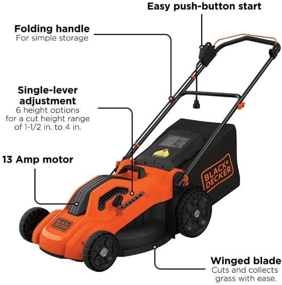 BlackDecker 3 in 1 lawnmower Best Lawn Mower for Small Gardens