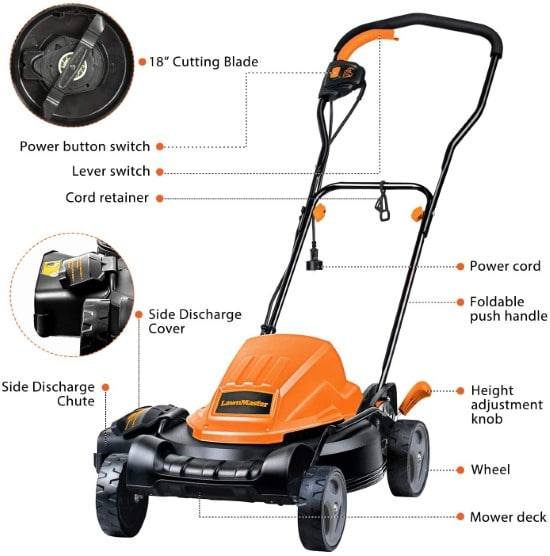 LawnMaster ME1218X Electric Lawn Mower Best Lawn Mower for Small Gardens