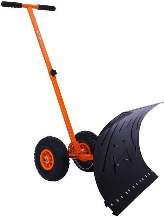 Ohuhu Adjustable Heavy Duty Wheeled Snow Shovel Best Snow Shovel